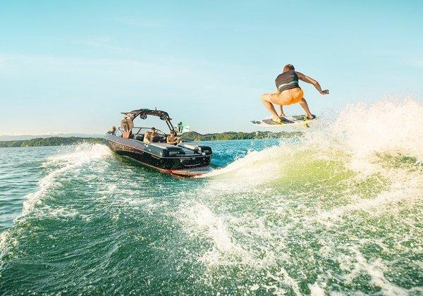 wakesurfer jumping