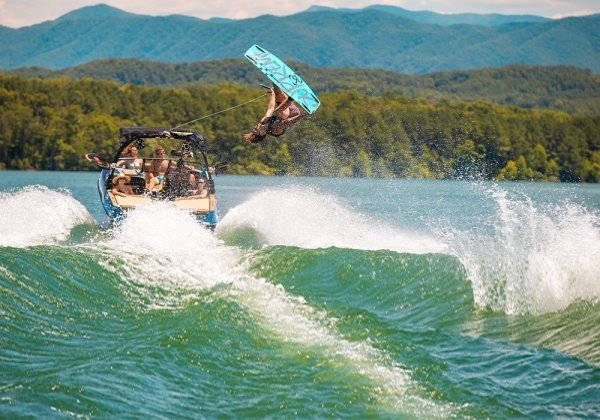 wakeboarder flipping